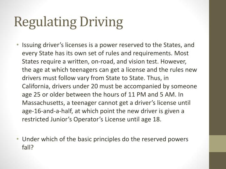 Regulating Driving