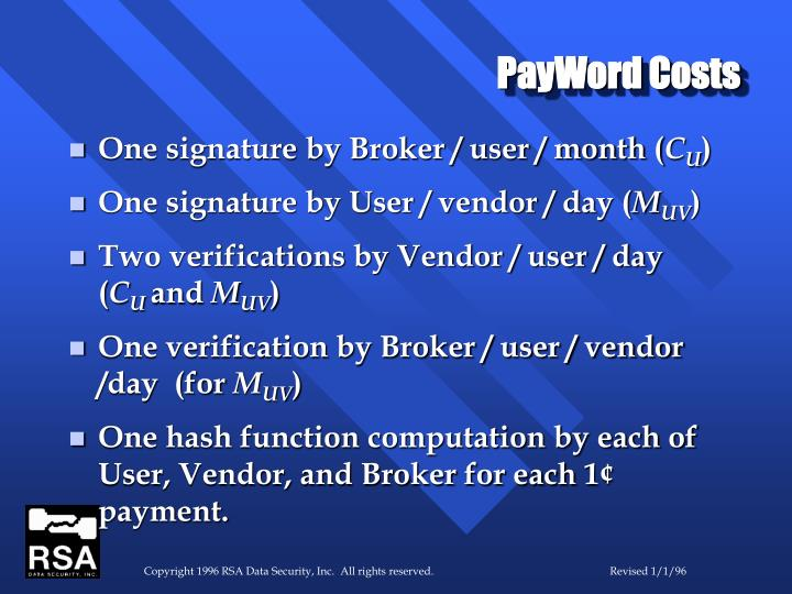 PayWord Costs