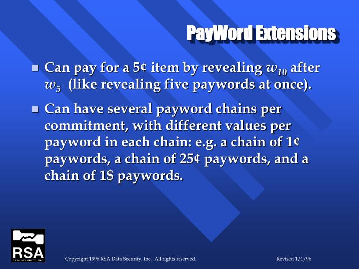 PayWord Extensions