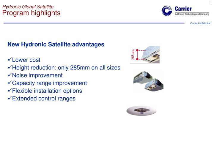 Hydronic global satellite program highlights