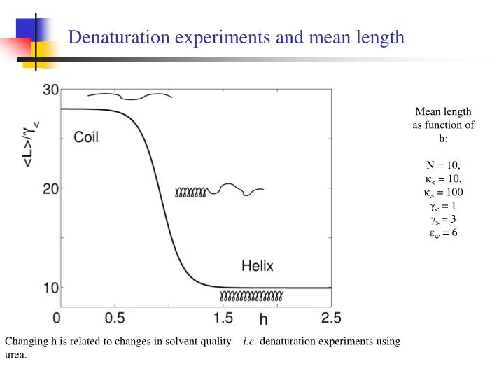Denaturation experiments and mean length