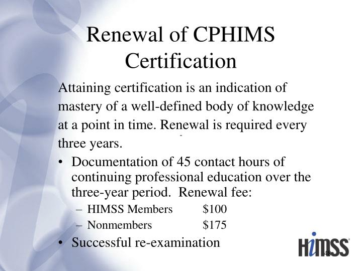 Renewal of CPHIMS Certification