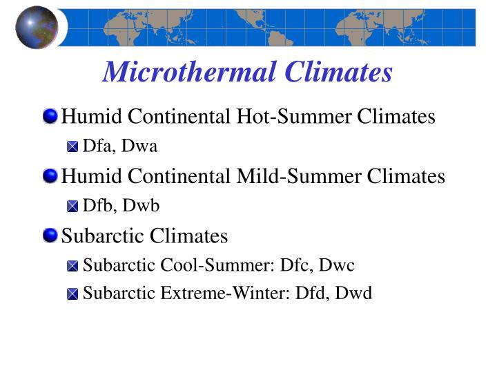 Microthermal Climates