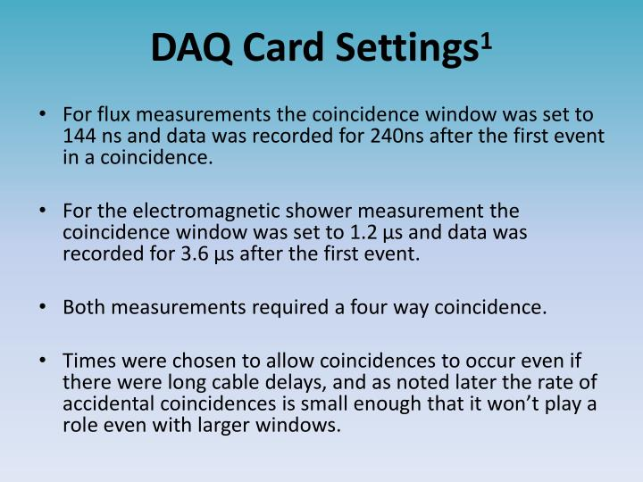 DAQ Card Settings