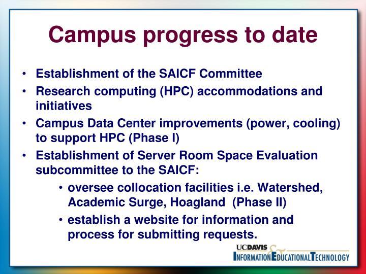 Campus progress to date