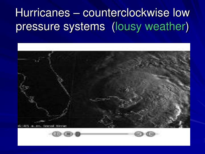 Hurricanes – counterclockwise low pressure systems  (