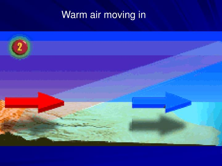 Warm air moving in