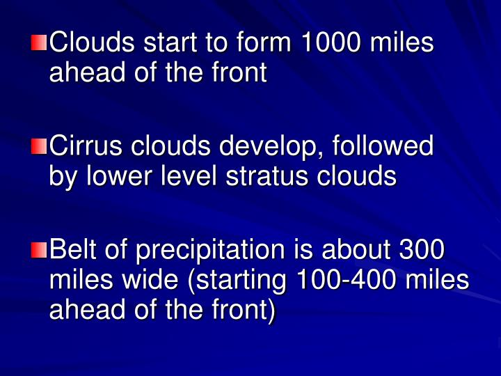 Clouds start to form 1000 miles ahead of the front