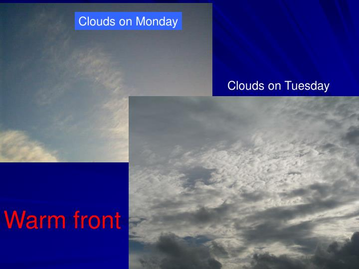 Clouds on Monday