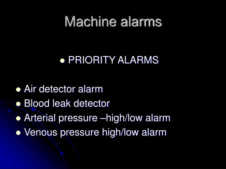 Machine alarms