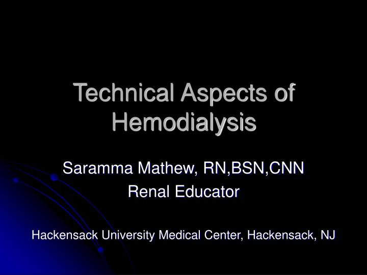 Technical aspects of hemodialysis