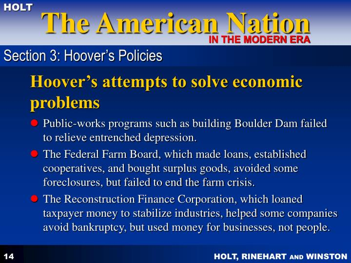 Section 3: Hoover's Policies