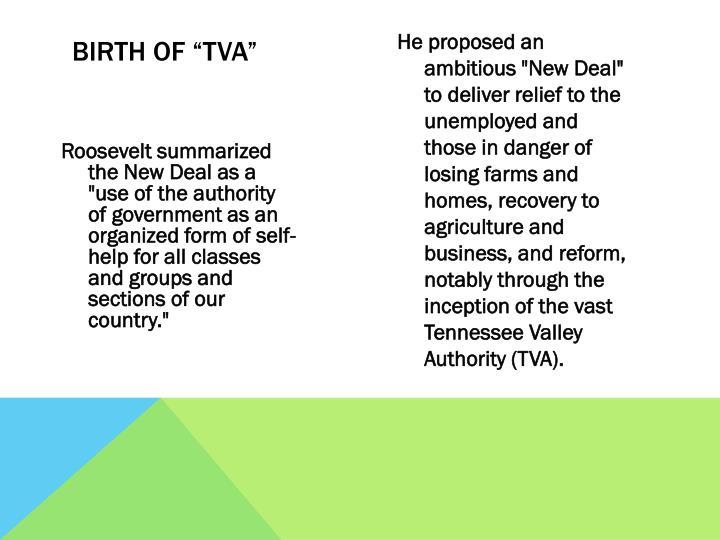 "Birth of ""TVA"""
