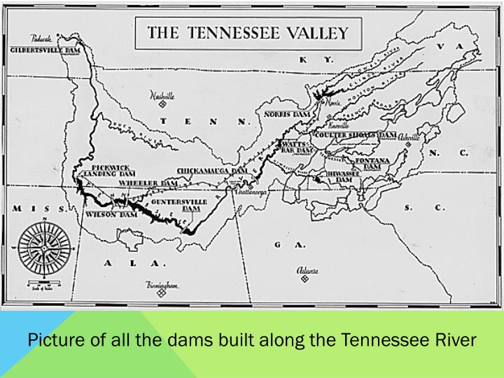 Picture of all the dams built along the Tennessee River