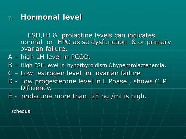 Hormonal level