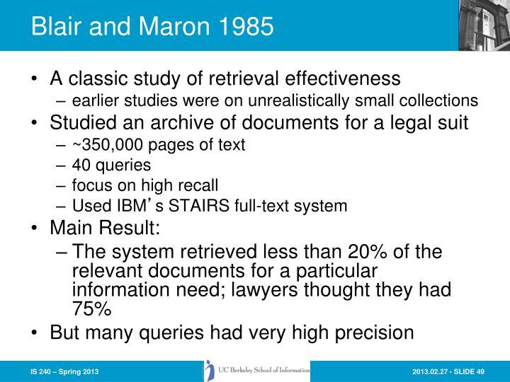 Blair and Maron 1985