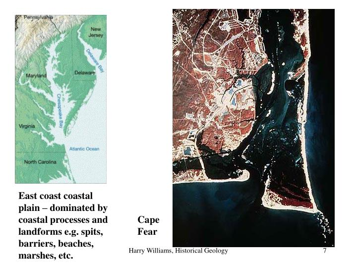 East coast coastal plain – dominated by coastal processes and landforms e.g. spits, barriers, beaches, marshes, etc.