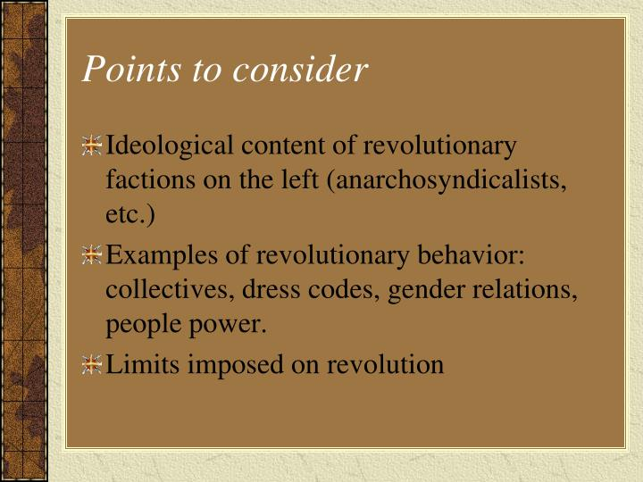 Points to consider
