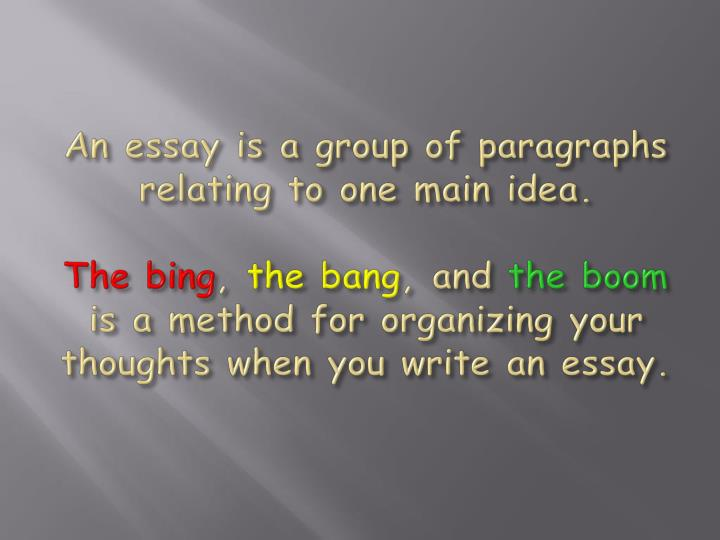 An essay is a group of paragraphs