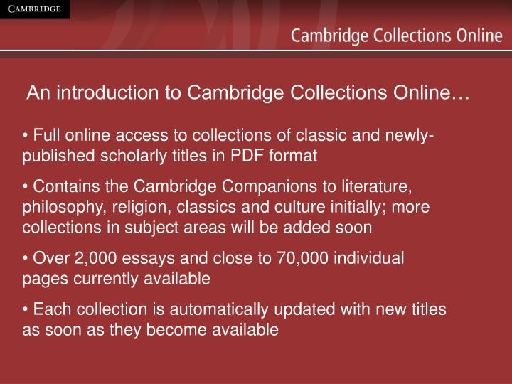 An introduction to cambridge collections online