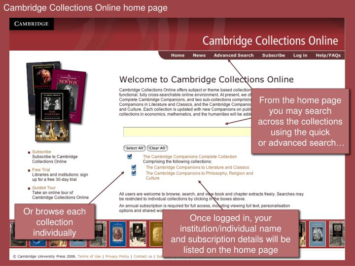 Cambridge Collections Online home page