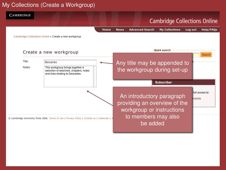 My Collections (Create a Workgroup)