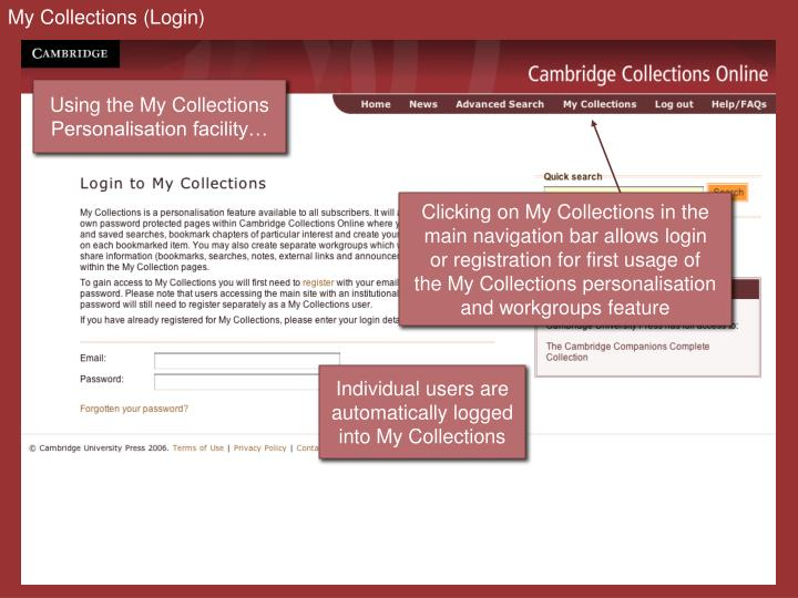 My Collections (Login)