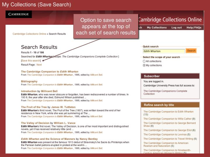 My Collections (Save Search)