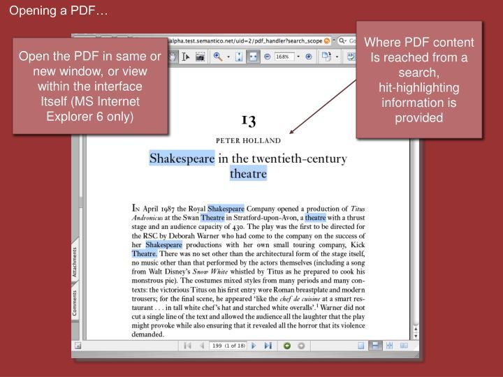Opening a PDF…