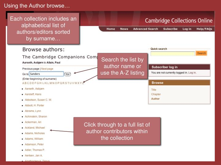 Using the Author browse…