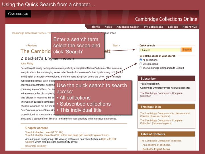Using the Quick Search from a chapter…