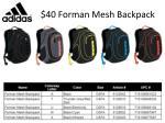 40 forman mesh backpack