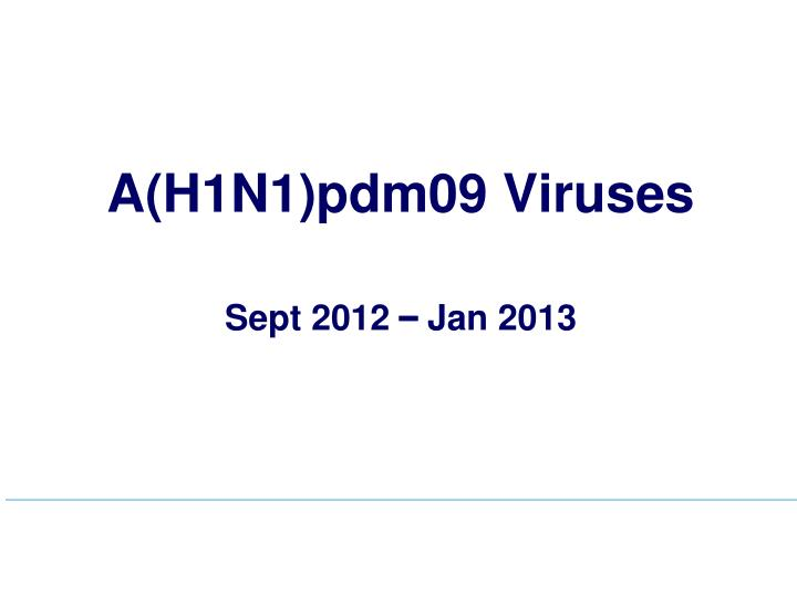 A(H1N1)pdm09 Viruses