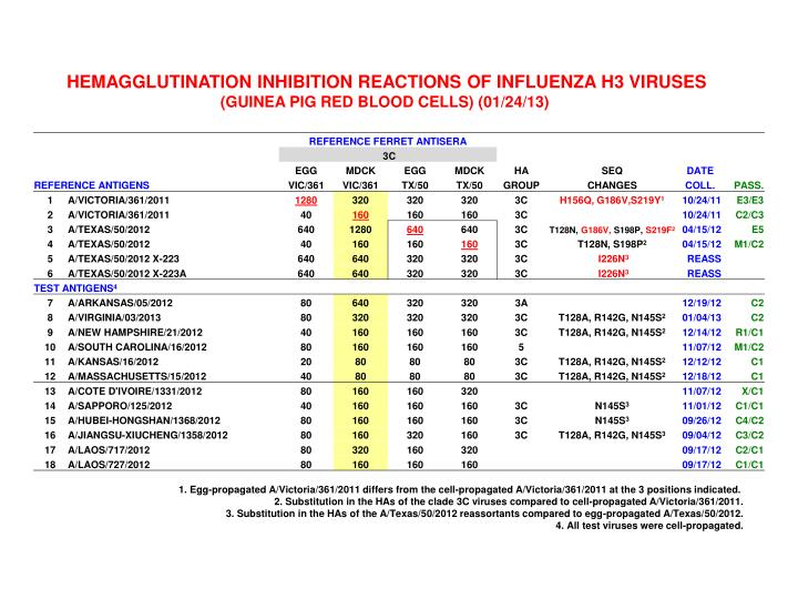 HEMAGGLUTINATION INHIBITION REACTIONS OF INFLUENZA H3 VIRUSES