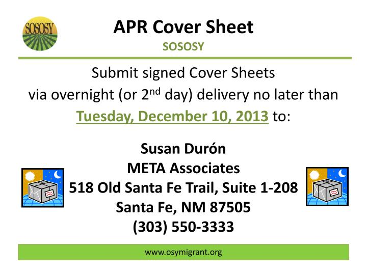 APR Cover Sheet
