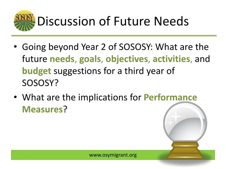 Discussion of Future Needs