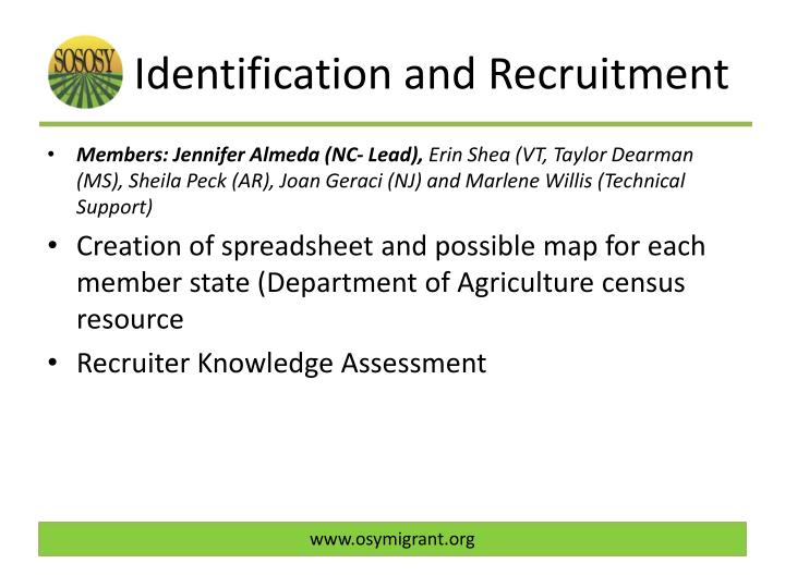 Identification and Recruitment