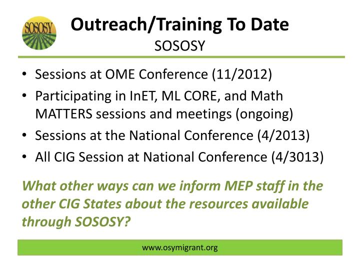 Outreach/Training To Date