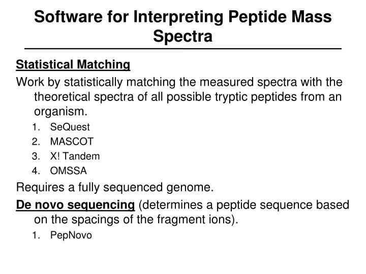 Software for Interpreting Peptide Mass Spectra