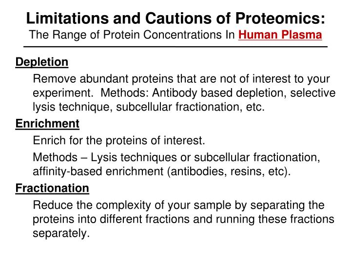 Limitations and Cautions of Proteomics: