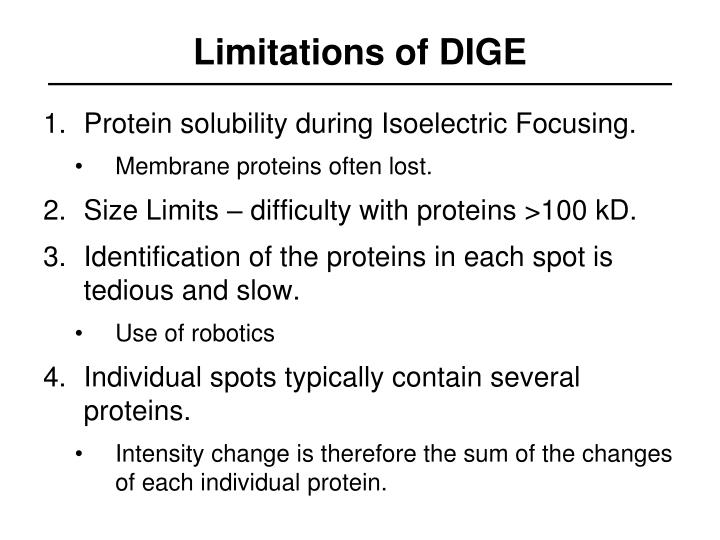 Limitations of DIGE