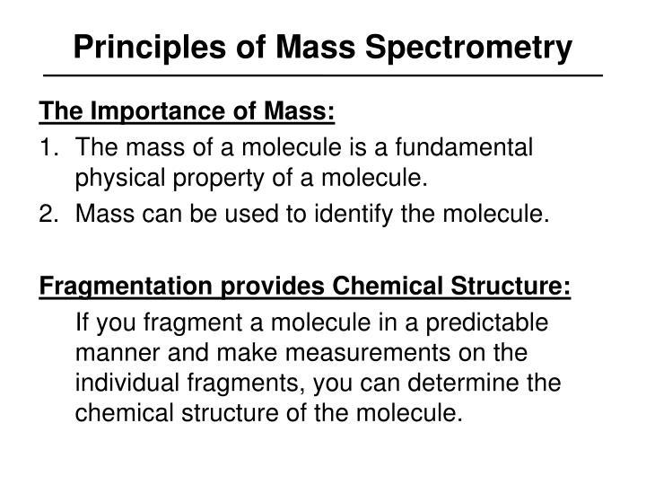 Principles of Mass Spectrometry