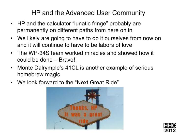 HP and the Advanced User Community