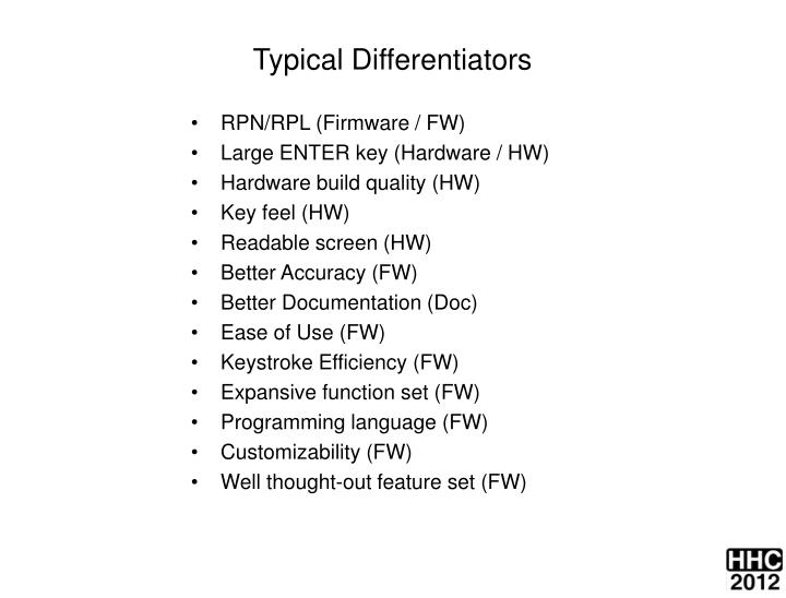 Typical Differentiators