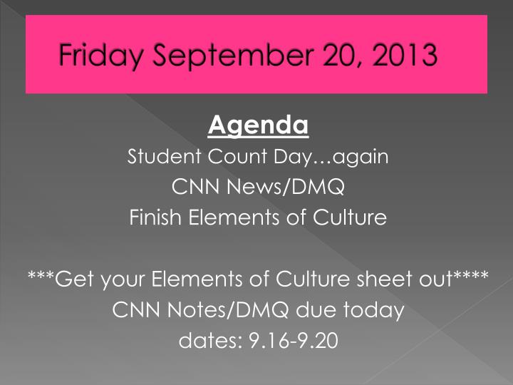 Friday September 20, 2013