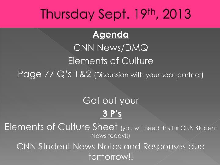 Thursday Sept. 19