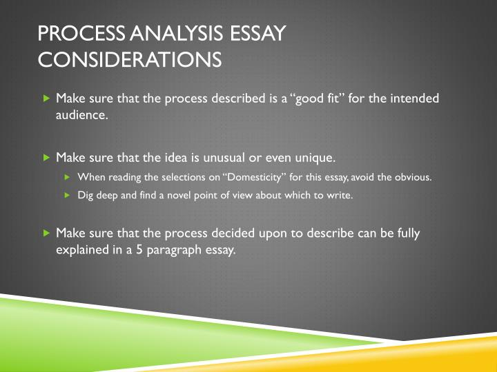 process analysis essay writing Get your sequence right to write a good process analysis essay writing a process analysis essay is easy if you are well conversant with the process which you are suppose to write about.