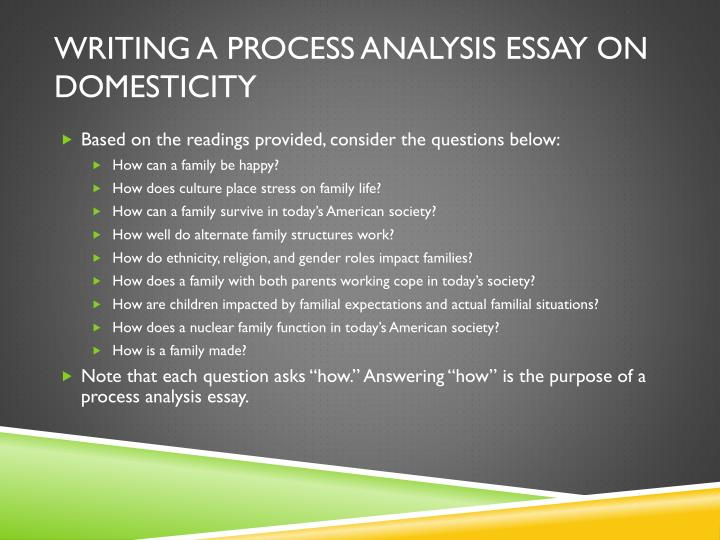 how to write a process analysis paper How to write a process analysis essay 6 steps we process start to thinking of all the necessary steps, in order then we conclusion take that step-by-step process and turn it into a well-written and essay essay in sentence and paragraph form.