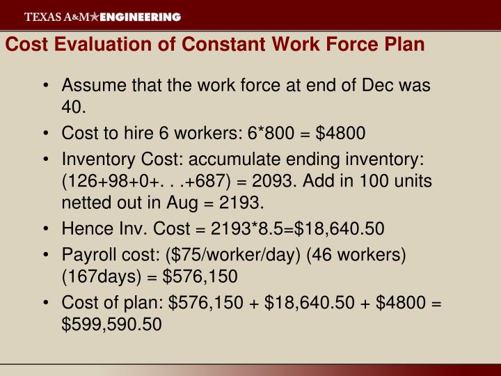Cost Evaluation of Constant Work Force Plan