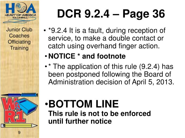 DCR 9.2.4 – Page 36